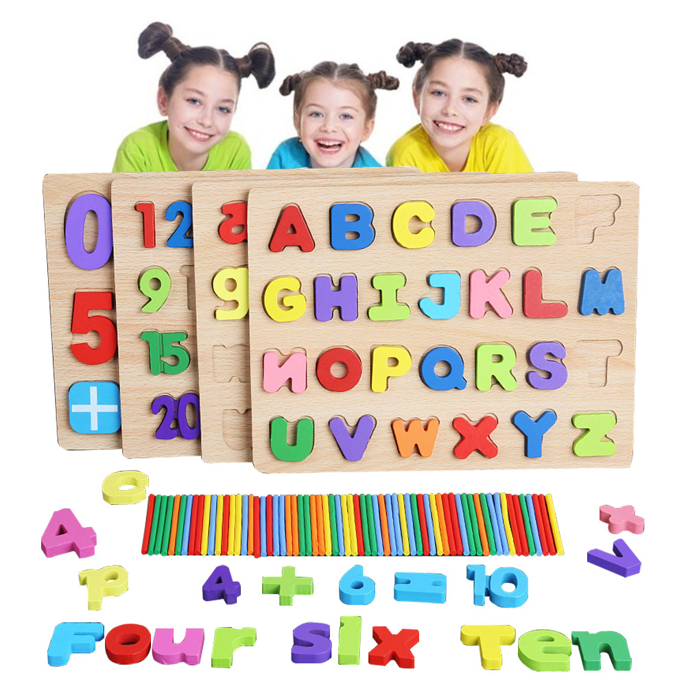New Montessori Math Toy Digitals Shapes Counting Cognition Arithmetic Toys Match Educational Toys Wooden Toys For alphabet board