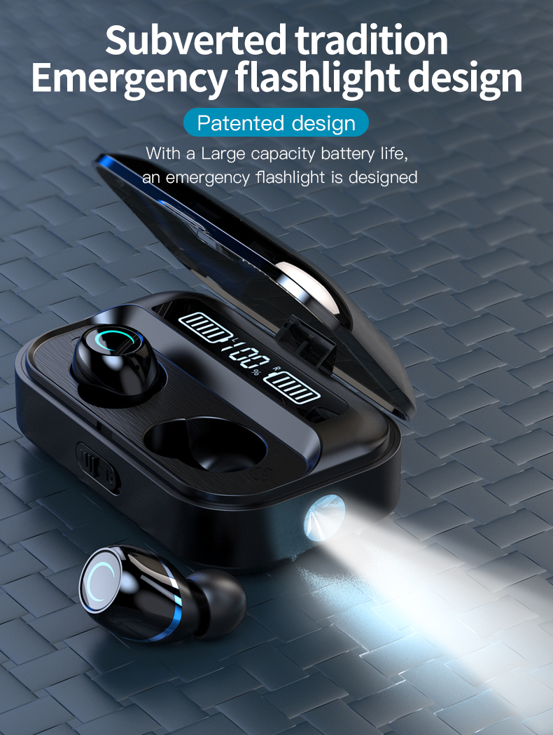 WTS G05 V5.0 Bluetooth Wireless Earphone Waterproof Touch Stereo Earbud Earphone 1500mAh Battery LED Display With Flashlight