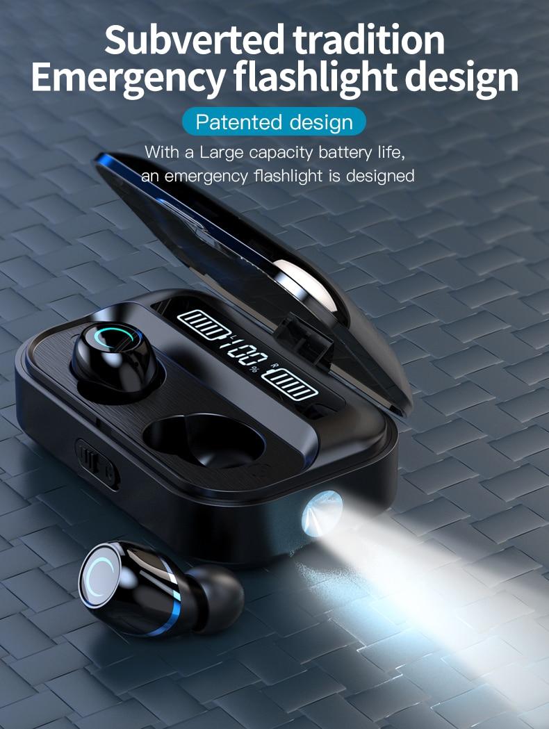 WTS G05 V5.0 Bluetooth sans fil écouteur étanche tactile stéréo écouteurs 1500mAh batterie LED affichage avec lampe de poche