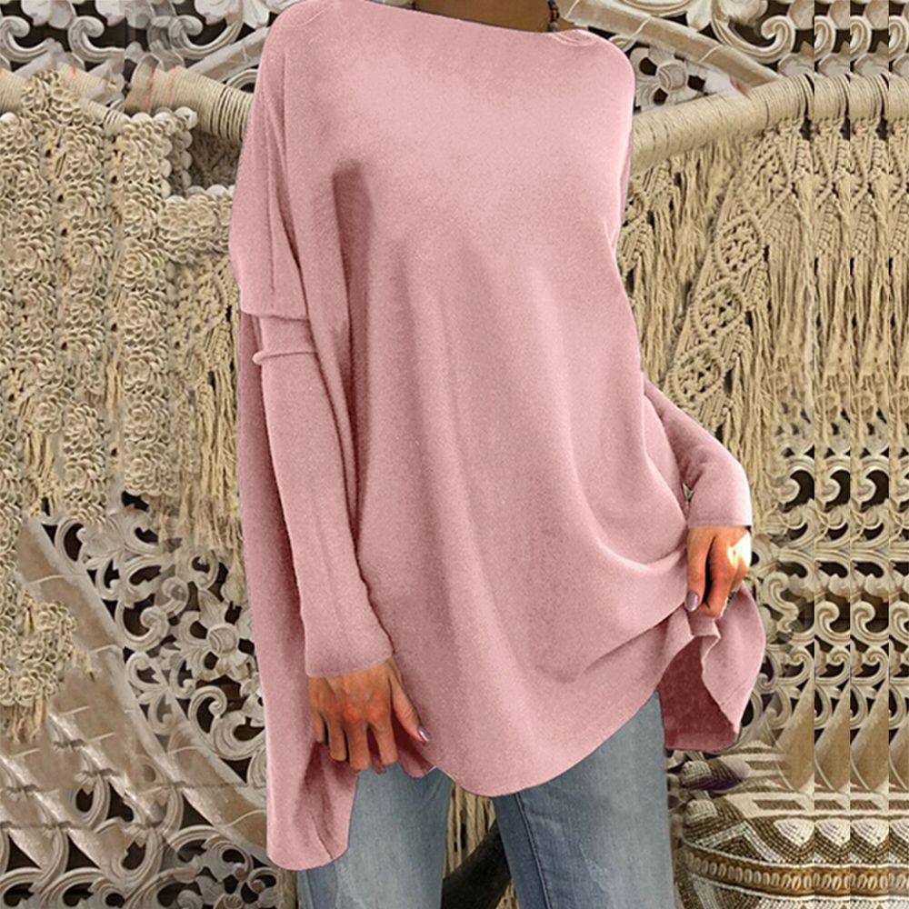 Casual Shirt Top-Dropship Tees Long-Tops O-Neck Plus-Size Solid Basic Loose
