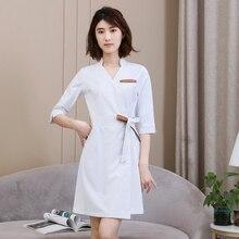 Beauty salon cosmetologist overalls female dress nurse wear Korea confinement center skin management white coat summer