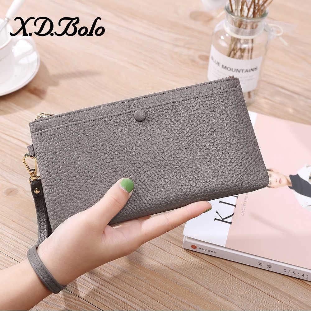 X.D.BOLO moda skóra kobiet portfel sprzęgła kobiet torebka etui z prawdziwej skóry portfel kobiet etui etui na telefon Carteira Femme