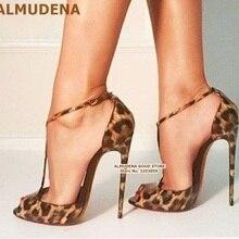 ALMUDENA Rose Black Leopard Color Patchwork High Heel Sandal