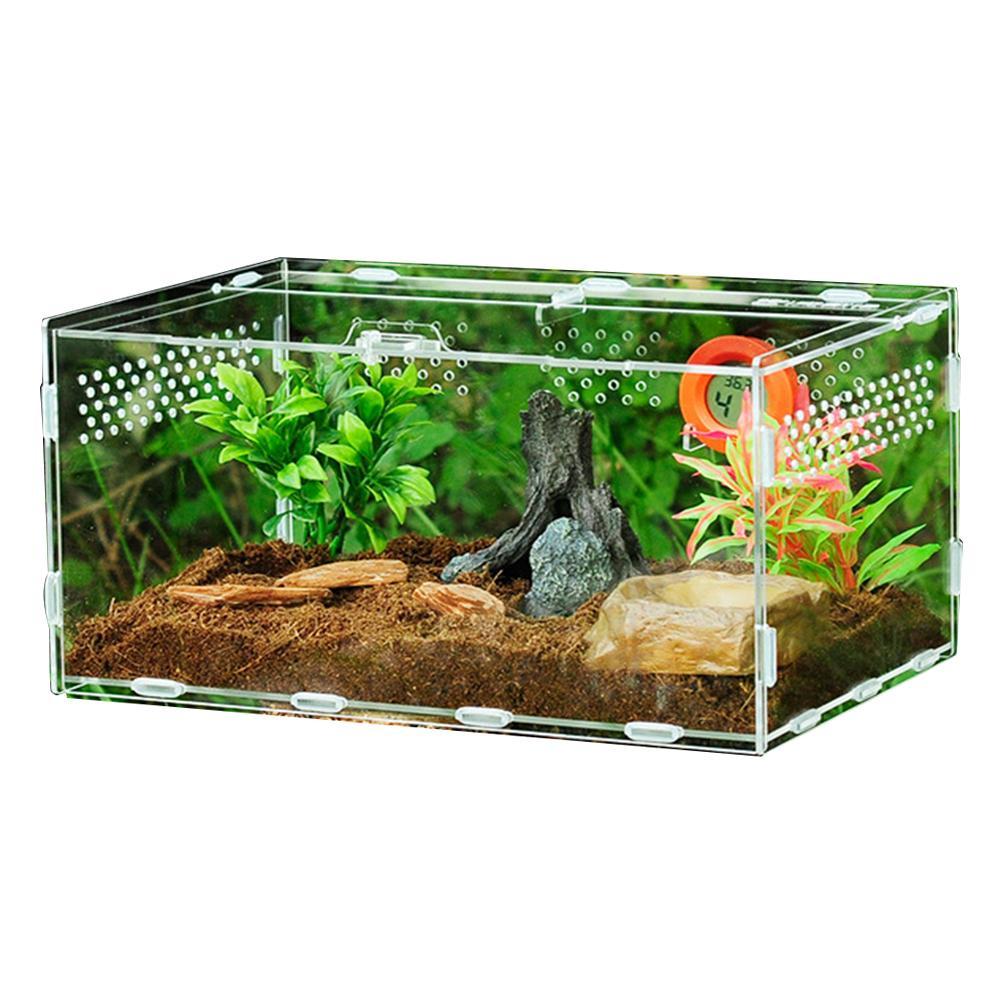 Reptile Tank Insect Spider Tortoise Lizard Small Pet Breeding Box Transparent Acrylic Vivarium Lid Reptile Pet Product Terrarium