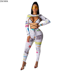GL Winter Women's set tracksuit Full sleeve Newspaper Print Bra top Pant suit Sportwear Sexy night club 3 piece set Outfits 1197