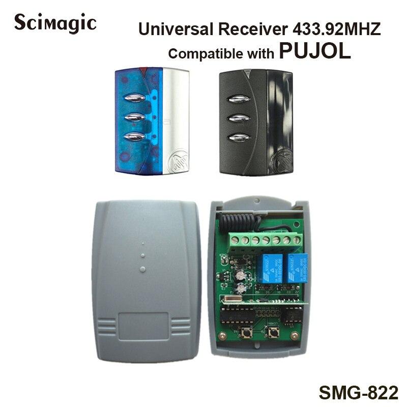 PUJOL Garage Door Remote Control Receiver 433.92MHz Rolling Code Receiver Remote Control Switch 2 Channel DC 12V-24V