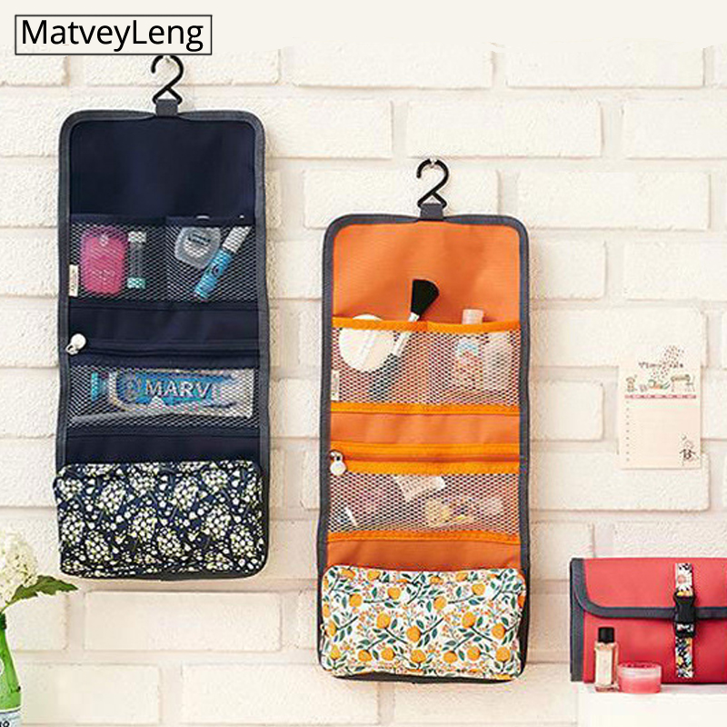 New High Quality  Travel Cosmetic Bag Toiletries Organizer Waterproof Storage Neceser Hanging Bathroom Wash Bag Women Makeup Bag