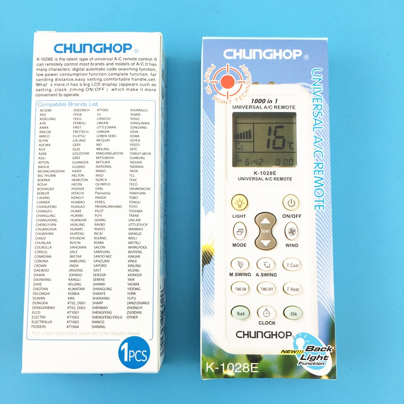 1000 in 1 K-<font><b>1028E</b></font> For <font><b>CHUNGHOP</b></font> Universal Wireless Remote Control AC Digital LCD Remote Control for Air Conditioner image