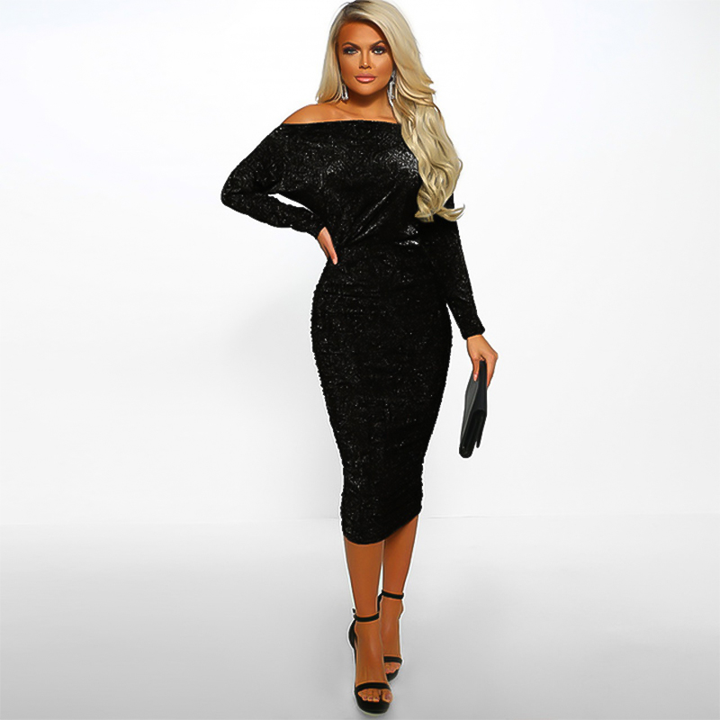 Dress Women Fashion Sexy Bag Hip Shoulder Vestidos De Festa Long Sleeve Women Clothes Dresses Woman Party Night Bandage Dress in Dresses from Women 39 s Clothing