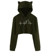 Cute Cat Ear Long Sleeve Sweatshirt Black Kawaii Hoodie Short Pullover Harajuku Solid Autumn Womens Hooded Tops Streetwear #3