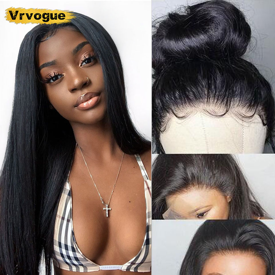 Vrvogue 360 Lace Frontal Wig Remy Brazilian Straight Human Hair Wigs For Women Pre Plucked With Baby Hair 4x4 Lace Closure Wig