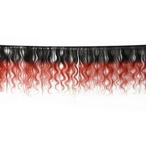 HairUGo бразильские объемные волнистые пучки волос T1B/бордовый фиолетовый Омбре человеческие волосы пучки можно купить с закрытием remy волосы