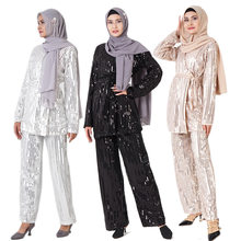 Dubai Style Muslim Sets Casual Sequin Suits Flare Sleeve woman Blouse Tops+ Wide Pants Islamic Clothing Turkey Robes Middle Ea(China)