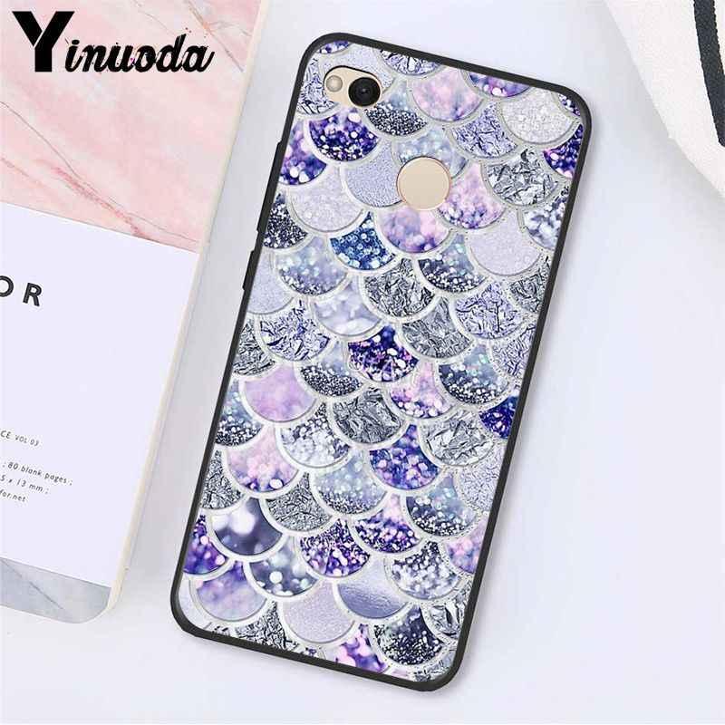 Yinuoda Roze Paars Glitter Mermaid Weegschalen Telefoon Case voor Xiaomi mi5 6 A1 A2 Lite Mi9 9SE mi8lite F1 Mix2 2S Max2 3