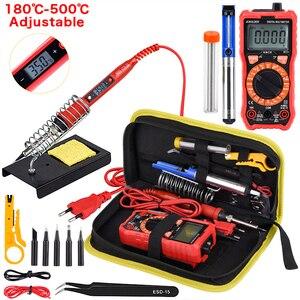 Image 1 - JCD Kit de soldador con multímetro Digital, rango automático, 6000 recuentos, CA/CC, 80W, 220V, temperatura ajustable, soldadura de soldadura