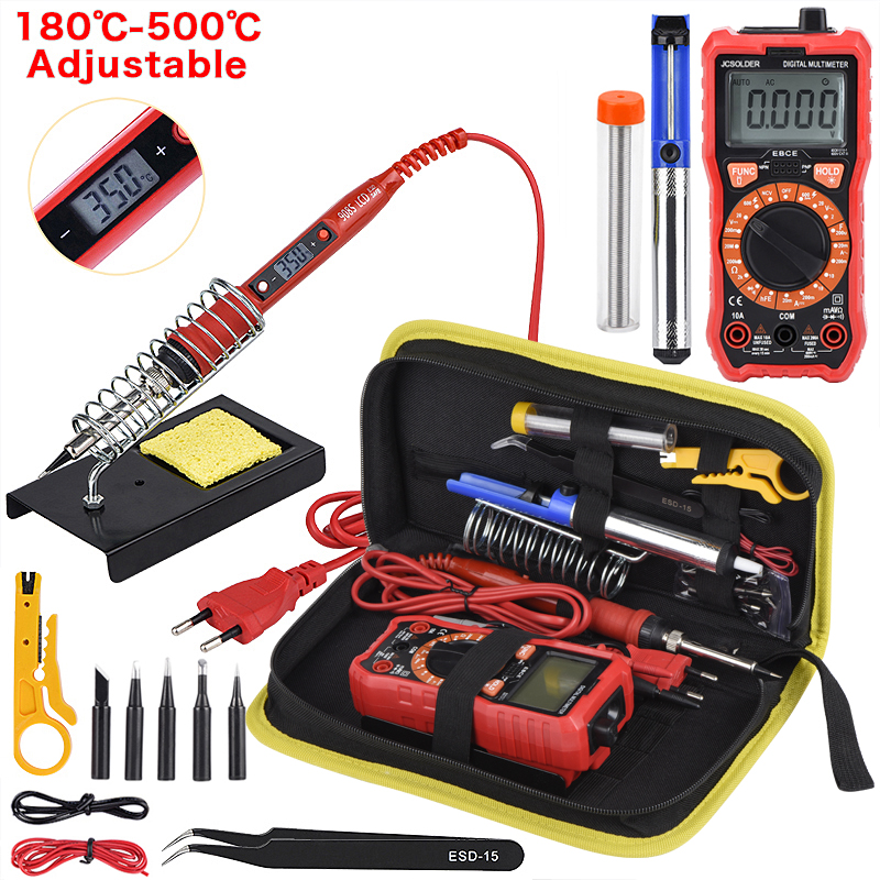 JCD Soldering Iron Kits With Digital Multimeter Auto Ranging 6000 Counts AC/DC 80W 220V Adjustable Temperature Welding Solder
