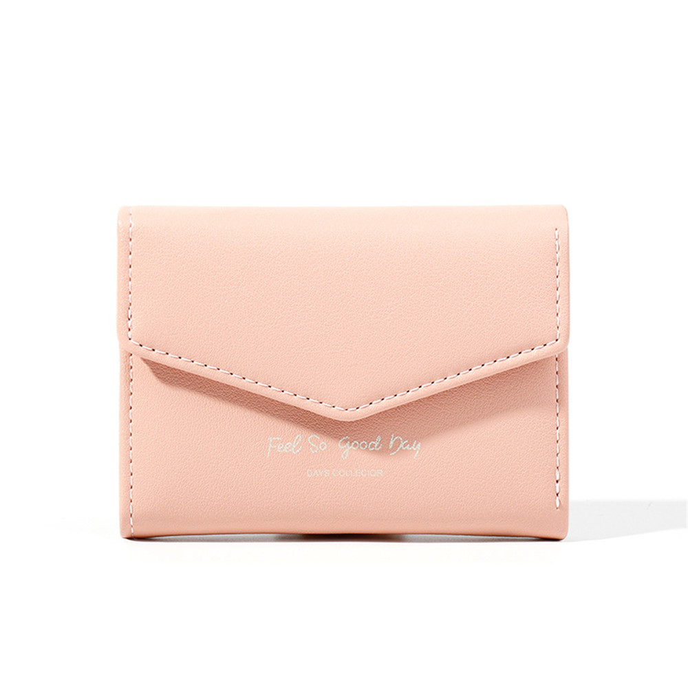Women Faux Leather Wallets Buckle Letter Coin Card Package Lady Purse Wallet Trifold PU Holder Clutch