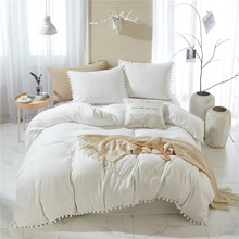 Nordic Soft Cute Solid White Bedding Set With Pompom Duvet Cover Set Bedclothes Bedspread Quilt Twin Size Bed Linens Polyester
