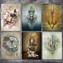 Peinture diamant, broderie 5D, perles rondes et carrées, Steampunk, fleurs, violon, chouette, points de croix bricolage, KitsZP-896