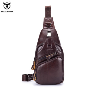 BULLCAPTAIN 2020 Genuine Leather chest bag for men casual messenger bags fashion men's chest pack large capacity Business bag's
