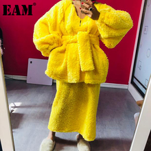 [EAM]  Half-body Skirt Warm Two Pieces Suit New V-Neck Long Sleeve  Loose Women Fashion Tide Autumn Winter 2021 1DD0222