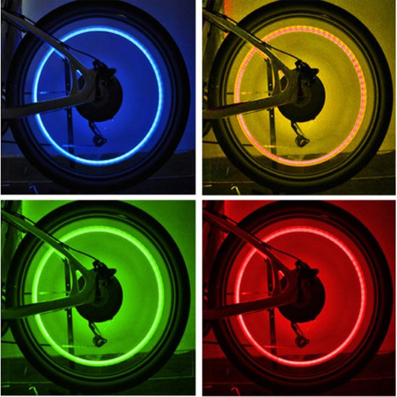 1pc Bike Light Mountain Road Bike Bicycle LightsTyre Tire Valve Caps Wheel Spokes Light