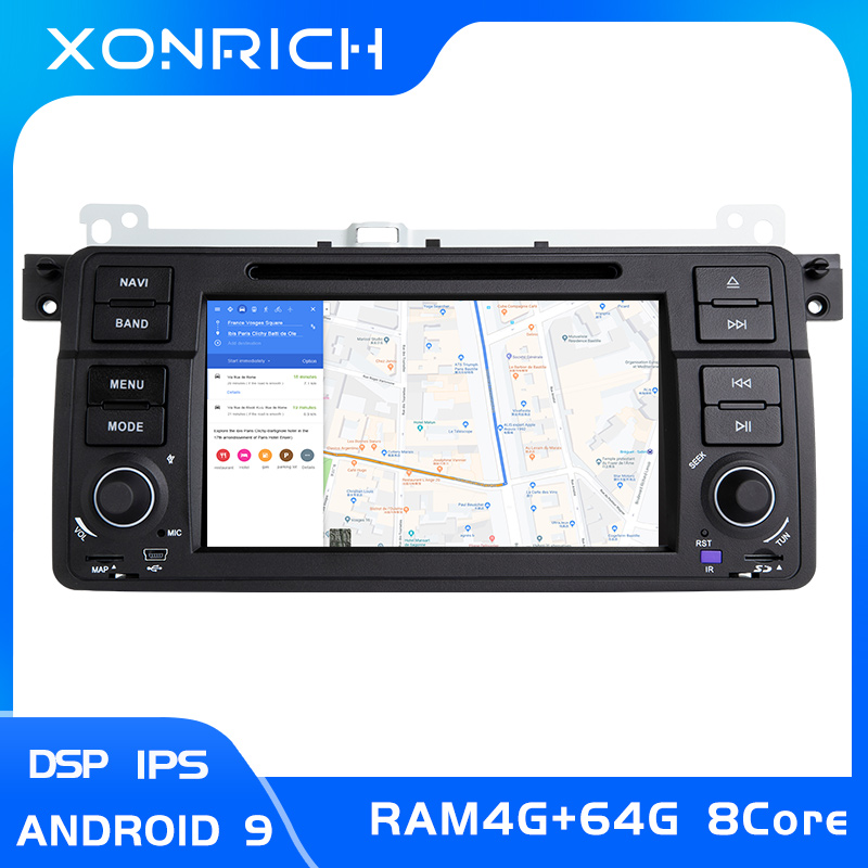 <font><b>8</b></font> Core AutoRadio <font><b>1</b></font> <font><b>Din</b></font> <font><b>Android</b></font> 9 Car Multimedia For BMW E46 M3 318/320/325/330/335 Rover 75Coupe Navigation GPS Stereo4+64GB DSP image