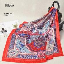 Luxus Seide Kopf Schal Frauen Druck Foulard Satin Quadratischen Kopf Hijab Schals Für Damen Marke Schals 90*90 Seide schal Moslemisches Hijab