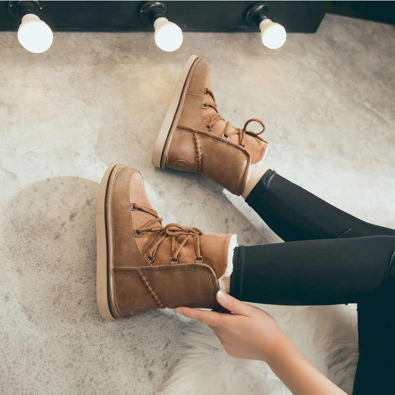 Kadın kış çizmeler sıcak kar botları ayak bileği bağcığı botları kadın peluş rahat ayakkabılar Platform Botas Mujer artı boyutu 2019 yeni varış