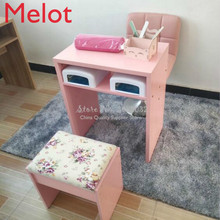 Nordic Simple Solid pink and white Color Durable Single Double Manicure Desk Desk Chair Particle Board 60x40x75cm