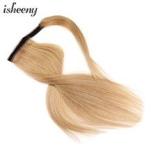 "14"" 18"" 22"" Natural Human Hair Ponytail Extensions Black Brown Blonde Wrap Pony Tail Clip in Hair Piece(China)"