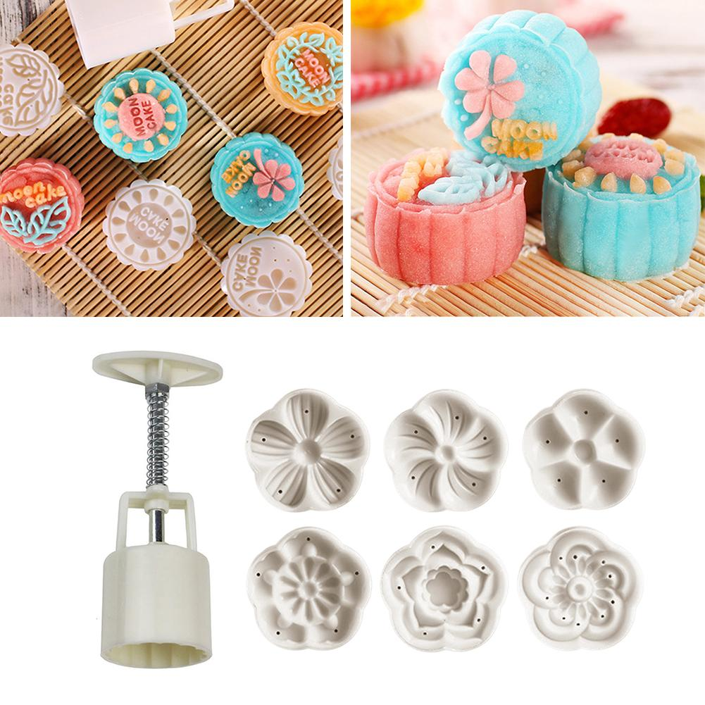 6 Style Round Flower Shaped Mooncake Mold Hand Presser Fondant Moon Cake Decorating Tools Cookies Cutter Pastry Baking Tool Nice