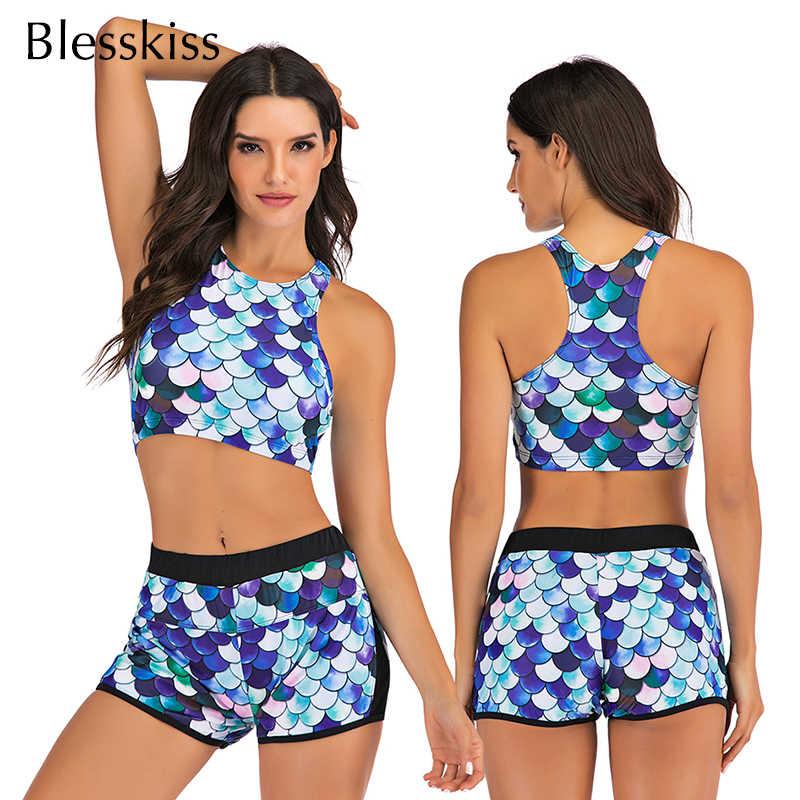 Vikionfly Sport bain Bikini ensemble avec short taille haute maillot de bain femmes 2020 imprimé rembourré Push Up maillots de bain maillot de bain natation