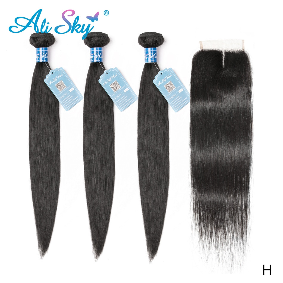 Ali Sky Peruvian Straight Human Hair 3 Bundles With Lace Closure 4x4  Remy Hair No Tangle No Shedding Wholesale High Ratio
