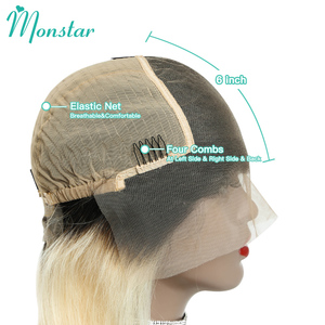 Image 5 - Monstar Blonde Ombre Colored 13*6 Short Bob Lace Front Human Hair Wig For Black Women 8   16 inch European Remy Straight 613 Wig