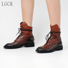 цены Plus Size 34-43 Genuine Leather Women Shoes ankle Short Boots Ladies Casual Fashion Cross-tied Booties classic Punk Motorcycle