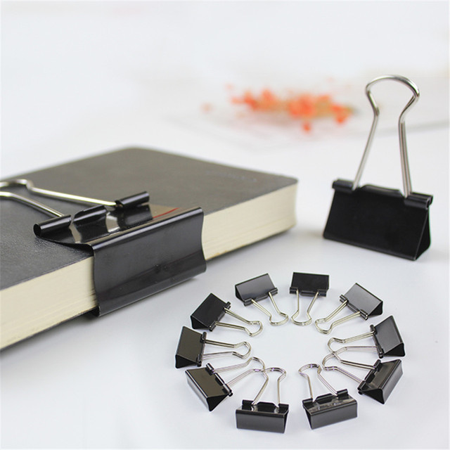 12pcs Foldback Binder Clips 19/25/32/41mm Metal Tickets Photos Paper Clips Document Paper Clamp Office School Binding Supply