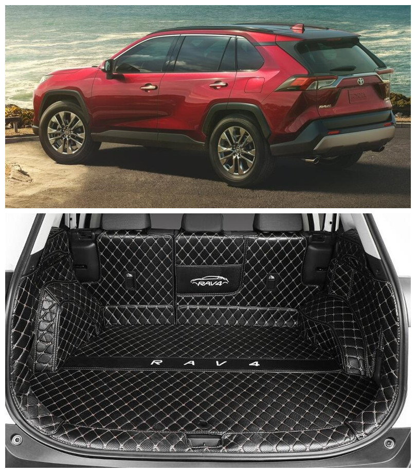 For TOYOTA RAV4 Hybrid 2019 2020 2021Full Rear Trunk Tray Liner Cargo Mat Floor Protector Foot Pad Leather Mats