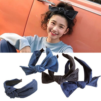 Denim Big Bow Headbands For Women Hair Accessories For Girls Knot Hairbands   Hair Band Big Bow Flower Headband plaid knot headbands for women lace headband korea hair accessories hair band flower crown hairbands head wrap
