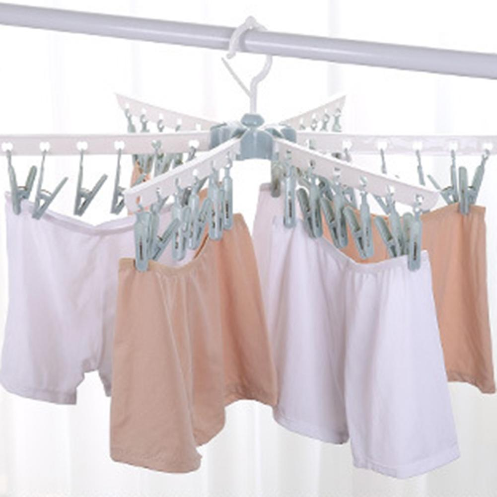 36 Clips Clothespin Socks Underwear Drying Rack Windproof Folding Clothes Hanger Prevent Slippery Wind. Don't Worry About The