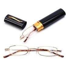Унисекс, очки для чтения с ручкой, чехол, портативные очки для дальнозоркости, металлический чехол, пружинный шарнир, очки, Уход За Зрением+ 1,00~+ 4,00