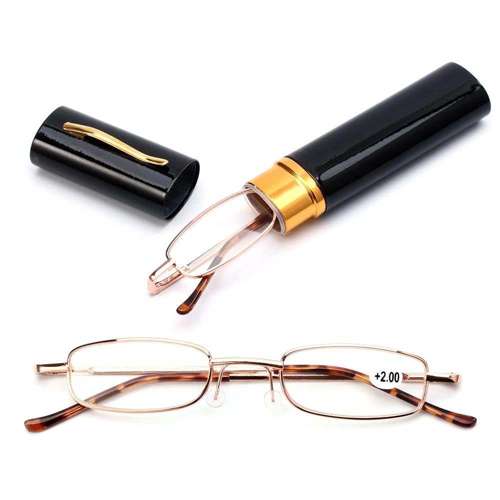 Unisex okuma gözlüğü kalem tüp durumda taşınabilir presbiyopik gözlük Metal kasa bahar menteşe gözlük vizyon bakım + 1.00 ~ + 4.00