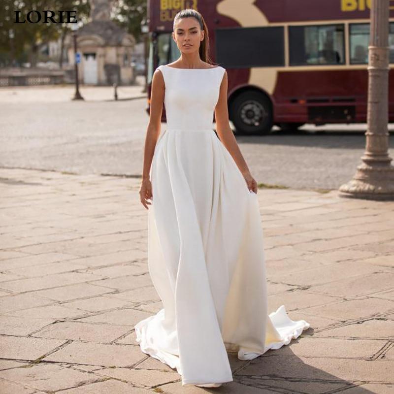 LORIE Satin Wedding Dress Simple A Line Bride Dresses Sleeveless Romantic Buttons Backless Weddin Gown Vestido De Novia 2019