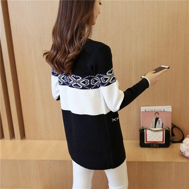 2019 Women's Long Sweater Cashmere Autumn Cardigan knitting Sweater Pink Black Red Printing Winter Fashion Slim Women 7479 50 8