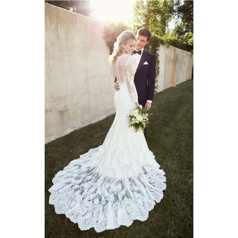 Stunning Lace Mermaid Sheer Long Sleeves Court Train Bridal Gown For Garden Vestidos De Noiva 2018 Mother Of The Bride Dresses