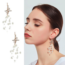 Fashion new simple handmade winding pearl Dangle Earrings Personality Rhinestone Drop female Jewelry Gift