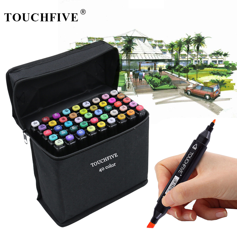 TouchFive 168 Colors Alcohol Markers Set Dual Tip Sketch Marker Pen Coloring Feutre Alcool Drawing Brush Pen Anime Art Supplies