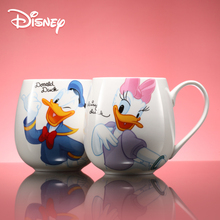Disney Mickey Family 430 Ml Water Cup with Cover and Spoon Ceramic Cartoon Milk Coffee Lovely Mug Tumbler