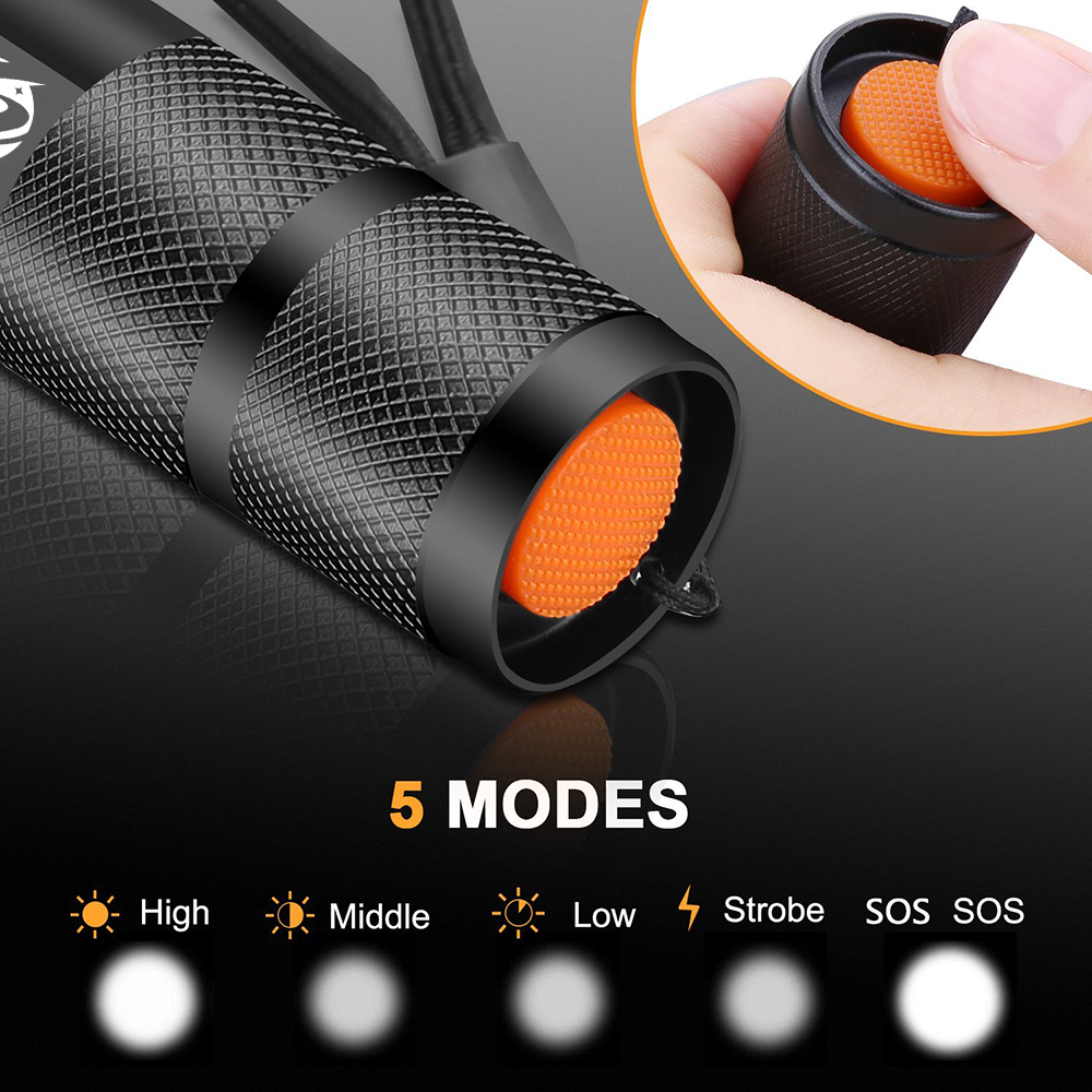 Shustar Led flashlight Ultra Bright torch L2/V6 Camping light 5 switch Mode waterproof Zoomable Bicycle Light  use 18650 battery 4