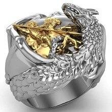 Fashion Punk Western Gold Saint George the Dragon Warrior Dragon Slaying Rings Gold rings for men or women  Dragon Faith Ring